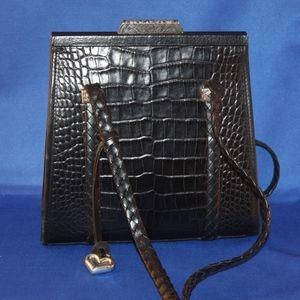 Braided Straps Black Leather Shoulder Bag